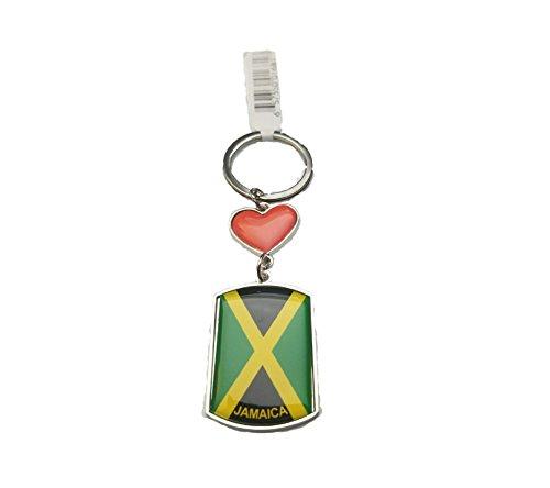Jamaica Flag Key Chain metal chrome plated keychain key fob keyfob Jamaican Heart