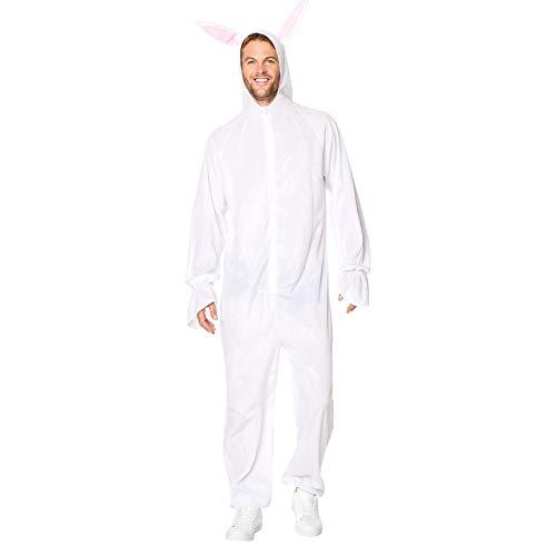 Rabbit Pajama Costume - Halloween Mens Hooded Onesie with Bunny Ears, White, L