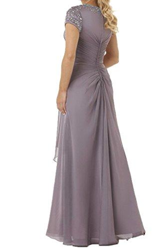 Steine Dunkel Lang La Brautmutterkleider Blau Silber Kurzarm Chiffon Abendkleider Braut Neuheit Elegant Partykleider mia Uw7wvS6qI