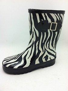 Amazon.com | Zebra Rain Boots Black Size 12 | Rain Boots