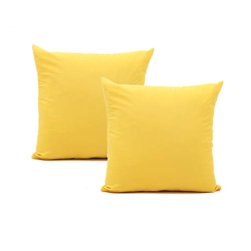 Bestjybt Solid Throw Pillow Covers Soft Pillow Cushion Case Retro Farmhouse Decoration for Couch Sofa Bed (Yellow, 18 x 18 inch, 2 Pack)
