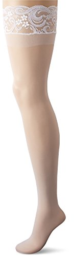 Dreamgirl Women's Plus-Size Silicone Lace Top Thigh-High, White, Queen Size