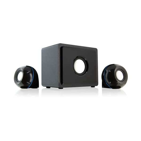 GPX HT12W 2.1 Channel Home Theater Speaker System, 3 Speakers, White