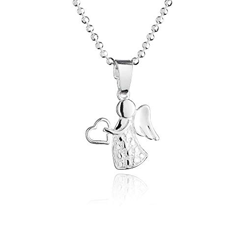 (fish Girl Sterling Silver 925, Guardian Angel Pendant Necklace, 14.2