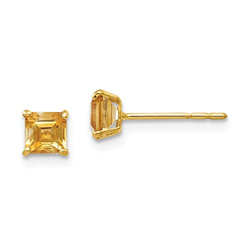 - 14k Yellow Gold Citrine 4mm Square Post Stud Earrings Fine Jewelry For Women Gift Set
