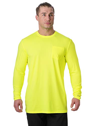 Arctic Cool Men's Instant Cooling Long Sleeve Pocket Workwear Shirt Performance Tech Breathable UPF 50+ Sun Protection Moisture Wicking Comfortable Work Quick Drying Top, Safety Yellow, XL (Best Mens Cooling Shirt)