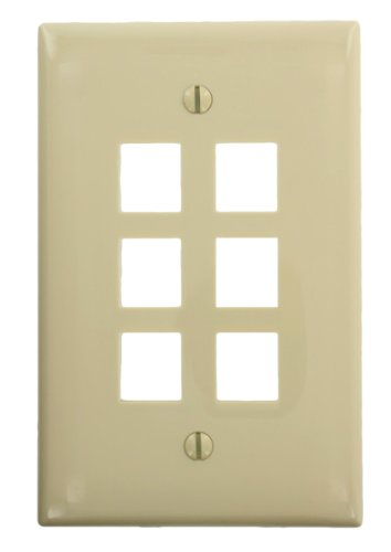 (Leviton 41091-6IN QuickPort Midsize Wallplate, Single Gang, 6-Port, Ivory)
