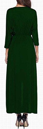 Sleeve Green Wrap Long Women's Sexy Neck Solid Hem Maxi Blackish Dress Irregular V Domple x06t4xO