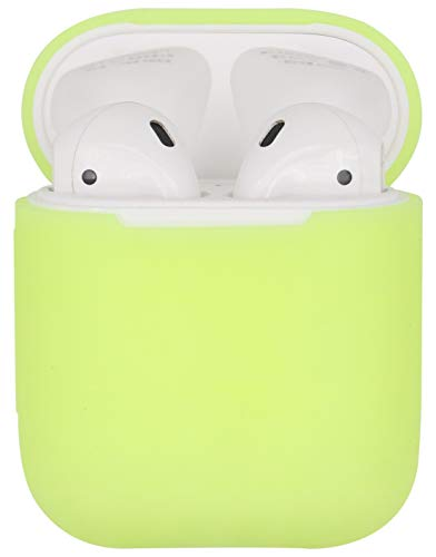 Slicone Skin - JNSA Luminous Glow Slicone Skin Cover Case for AirPods, Slim Fit and Protecitve AirPod Case, Fluorescent Green S