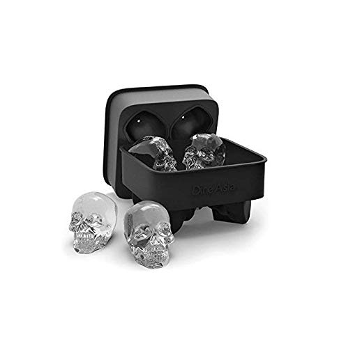 (3D Skull Ice Mold - Easy Release Silicone Mold, Cute and Funny Ice Skull for Whiskey, Cocktails and Juice Beverages, Black - Dishwasher Safe)