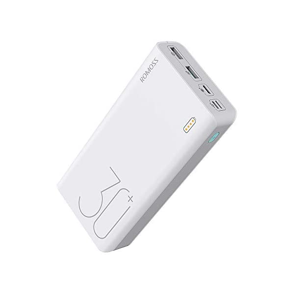 ROMOSS 30000mAh 18W Fast Charge Type-C PD Portable Charger Sense 8+, 3 Outputs &...