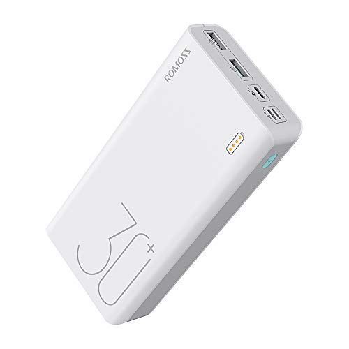 ROMOSS 30000mAh 18W Fast Charge Type-C PD Portable Charger Sense 8+, 3 Outputs & 3 Inputs Power Bank Compatible with iPhone Xs, iPad Pro (Not Support Fast Charge on Samsung S9 & Above Models)