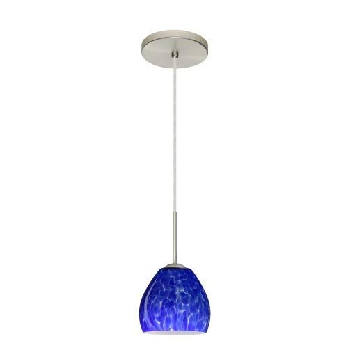 Besa Lighting 1BT-412286-LED-SN 1X6W GU24 Bolla LED Pendant with Blue Cloud Glass, Satin Nickel Finish
