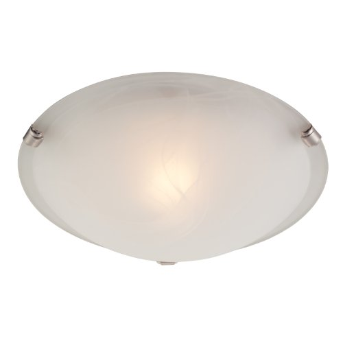 Bon Westinghouse 6629700 One Light Interior Flush Mount Ceiling Fixture, White  And Brushed Nickel Finish With White Alabaster Glass