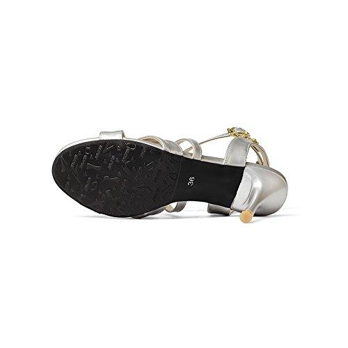 AdeeSu Womens Bandage Round-Toe Cone-Shape Heel Urethane Sandals Silver JBsZOzJuu