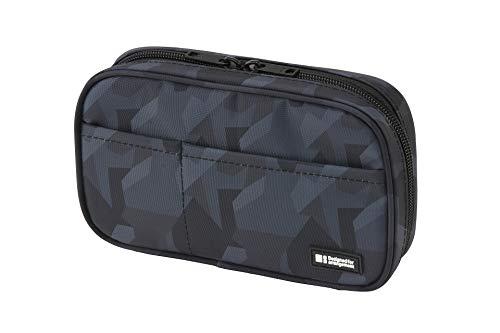LIHIT LAB Zipper Pen Case, 7.9 × 2 × 4.7 Inches, Black Camo (A7551-134)