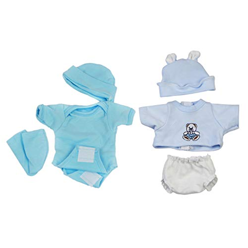 Prettyia Fashion Rompers Shorts with Hat Set for 10-11inch Reborn Baby Girl/Boy Doll - Boy Baby Doll Clothes