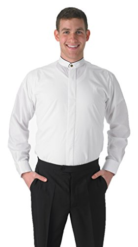 - Premium Men's White Dress Shirt Banded Collar with Black Piping - Large 34/35