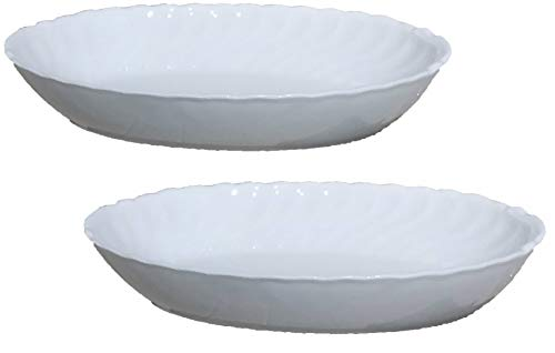 Set of 2 French White Elegant Bakeware Porcelain Oval Casserole Au Gratin Baking Dish