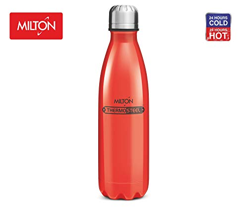 Thermosteel Duo Deluxe Insulated Water Bottle 18/8 Stainless Steel Double Walled for Hot & Cold (Candy Red, 34 oz (1000 ml))