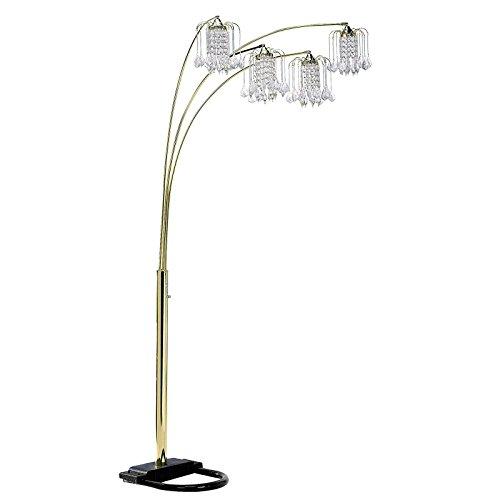 Hongville HV FLAMP 6966G U Shaped Base 4 Arm Faux Crystal Like lamp Shades Floor Lamp, 84