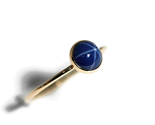 Size 8 6mm Created Blue Star Sapphire and 14K Gold Filled Skinny Ring (Created Blue Star Sapphire Ring)