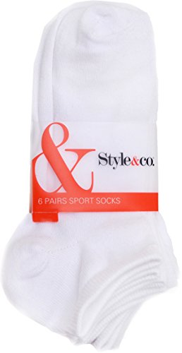 Style & Co Women's 6 Pairs of White Ankle Sport Socks. -  Style & Co.