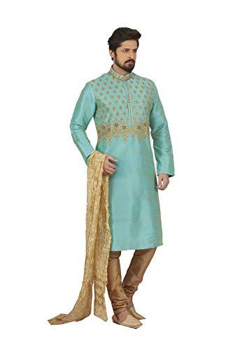 Tarquish Pinkcitycreations Wedding Pajama 2 Blue Wear Dupion Kurta Party Set Of 4 India Mens qqAx6a4Pw