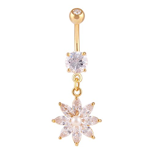 CABBE KALLO Belly Button Rings 14G Jeweled Flower Dangle Crystal Navel Rings Stainless Steel Body Piercing Jewelry (Gold 14G=1.6mm)