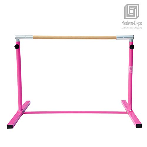 Modern-Depo Junior PRO Gymnastics Kip Bar | Adjustable (3'- 5') Training Horizontal Bar Beech Wood - Pink by Modern-Depo (Image #6)