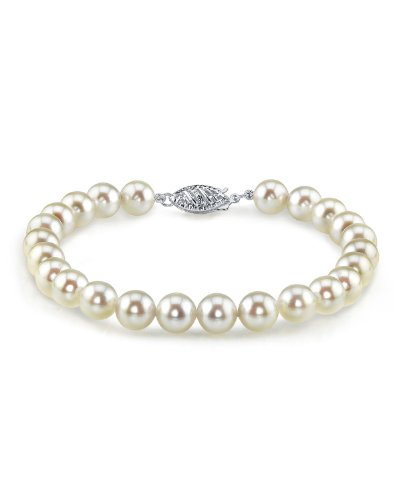 THE PEARL SOURCE 14K Gold 5.5-6mm Round White Japanese Akoya Saltwater Cultured Pearl Bracelet for Women