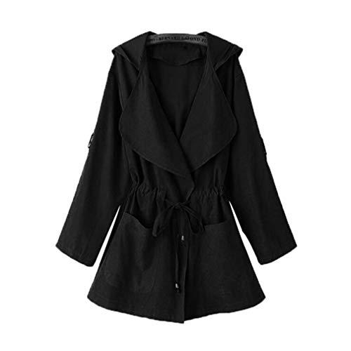 Manica Vita Femminile Cappuccio Elastico Cappotto Donna Lunga Jack In Con Tasca Yying Kimono Autunno Allentato Nero Casual Coat Giacca Outwear qBICxa