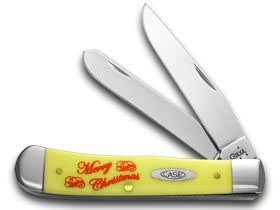 CASE XX Merry Christmas Yellow Synthetic Trapper 1/1000 Pocket Knife Knives