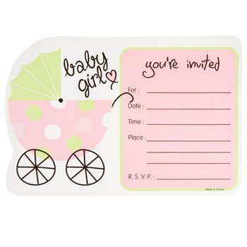 Girl Baby Shower Invitations Pink Green White Set of 50