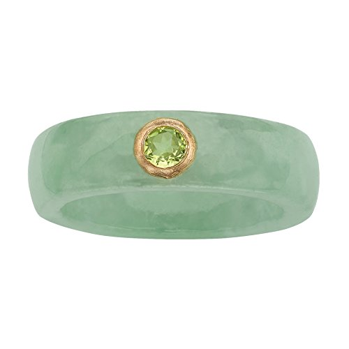 (Genuine Green Jade and Green Bezel-Set Peridot Accent 10k Yellow Gold Ring)