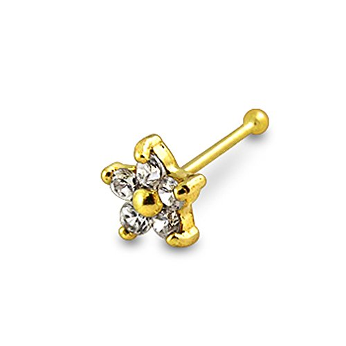 14K Solid Yellow Gold Jeweled Flowers 24Gx1/4 (0.4x6mm) Ball End Nose Piercing jewelry