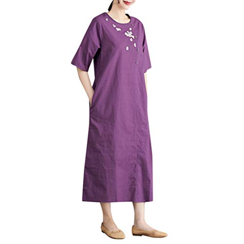 (Vintage Summer Casual Cute Women Short Sleeve Mid-Calf Loose Hem Dress Purple)