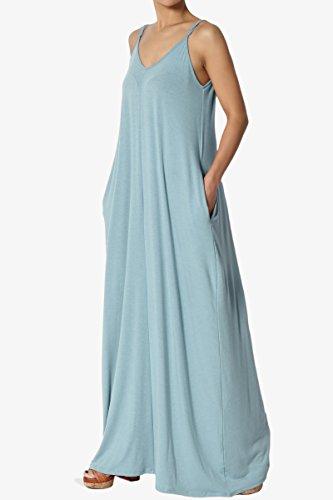 df14eaa5139 TheMogan Casual Beach V-Neck Draped Soft Jersey Cami Long Maxi Dress with  Pocket