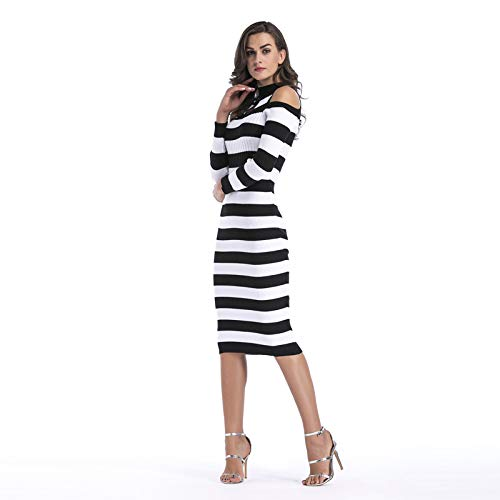Robe et Automne 42 Noires Femme Blanches Stretch Sexy Moulante Hiver Taille Tunique Pull en Rayures Crayon Pullover Tricot Chic YAMEE Unique 36 q5wRC0x