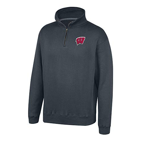 (Top of the World NCAA Men's Wisconsin Badgers Dark Heather Classic Quarter Zip Pullover Charcoal Heather Medium)