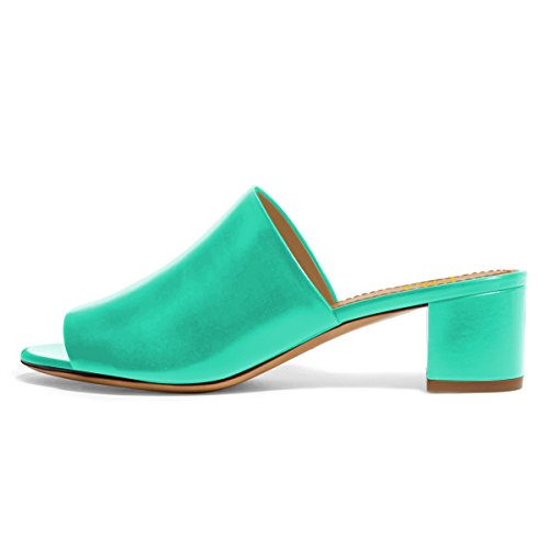 4 Comfortable Sandals Daily Shoes Women Low Toe Turquoise Casual Size Open Mules FSJ US Heels Chunky 15 HUxOSc