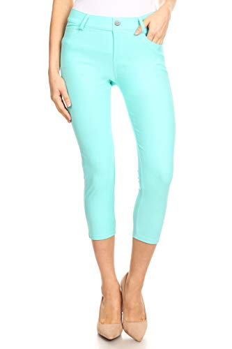 ICONOFLASH Women's Turquoise 5 Pocket Capri Jeggings - Pull On Skinny Stretch Colored Jean Leggings Size Small ()