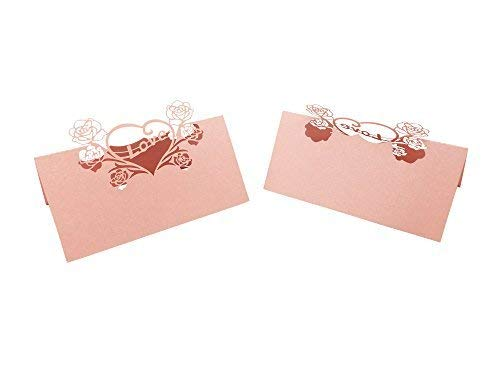 50PCS Wedding Guest Name Place Cards Party Table Name Place Cards Paper Table Numbers Place Card Escort Name Card Laser Cut Design for Wedding Party Decoration Favor (Pink-Love)