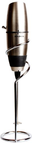 BonJour Battery-Powered Cafe Latte Frother with Stand, Chrome/Black by BonJou