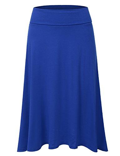 DRESSIS Women's Basic Elastic Waist Band Flared Midi Skirt ROYAL M