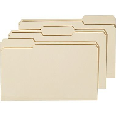 Staples Manila File Folders, Legal, 3 Tab, Assorted Position, (Position Legal 100 Box)