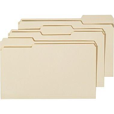 Staples Manila File Folders, Legal, 3 Tab, Assorted Position, 100/Box -