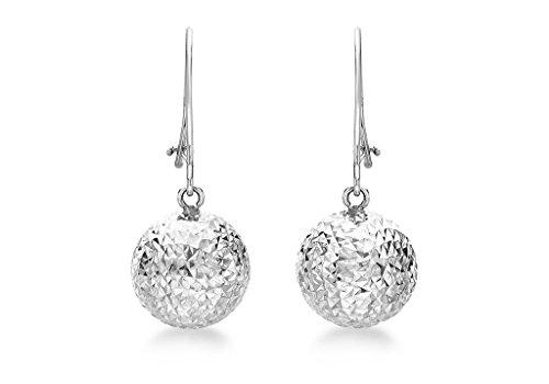 9ct or blanc 10mm balle-Boucles d'Oreilles Pendantes Femme-Coupe Diamant