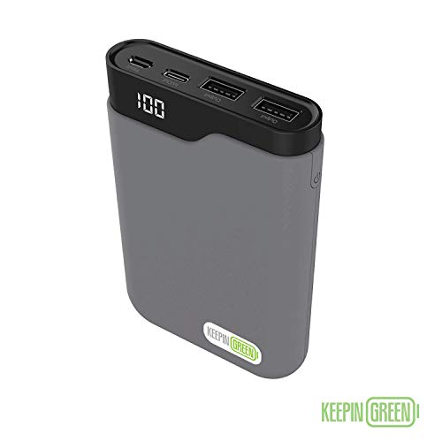 KeepinGreen Portable 10000 mAh Charger Power Bank with 3 USB Ports for Apple iPhone XR, XS, X, 8, 7, 6, SE, 5 iPad / iPod and Android Samsung Galaxy S8, S9, S10 - Grey