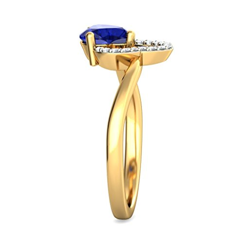 14 K Or jaune, 0,08 carat Diamant Blanc (IJ | SI) tanzanite et diamant Bague